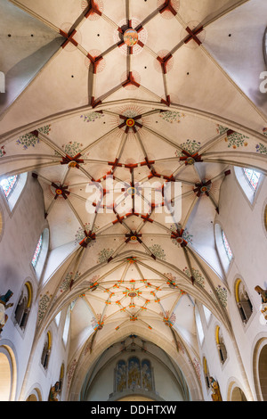 Nave with a Gothic stellar vault of the Basilica of St. Castor, masterpiece of Romanesque architecture on the Middle - Stock Photo