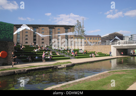 Regent's Canal and Granary Square Kings Cross London - Stock Photo