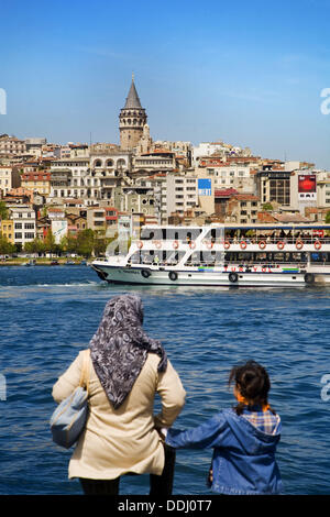 Galata district with Galata Tower, Golden Horn, Istanbul, Turkey - Stock Photo