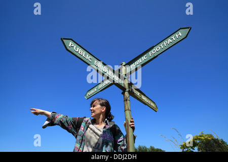 Pointing the way - a sign post at a junction of bridle paths and footpaths, in countryside near Ditchling, East - Stock Photo