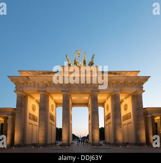 Night view of Brandenburg Gate in Berlin Germany - Stock Photo