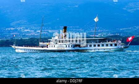 paddle steamer Savoie built 1914 of Compagnie générale de navigation sur le lac Léman CGN General Navigation Company - Stock Photo
