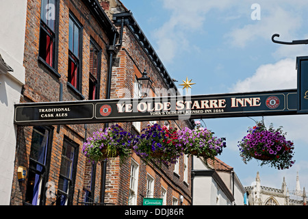 Ye Olde Starre Inne sign Stonegate York North Yorkshire England UK United Kingdom GB Great Britain - Stock Photo