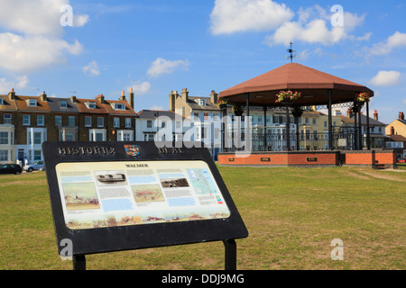 Historic information board and Marines Memorial bandstand on seafront green in Walmer, Deal, Kent, England, UK, - Stock Photo