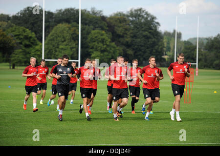 Cardiff, Wales, UK. 3rd September 2013. Wales Football squad training at the Vale Resort near Cardiff today ahead - Stock Photo