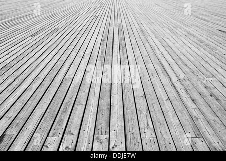 big,wooden floor, grey background - Stock Photo