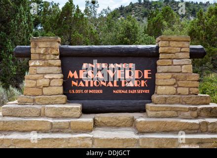 Entrance sign to Mesa Verde National Park, Colorado, USA - Stock Photo