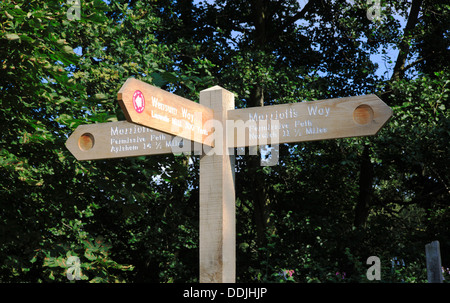 A direction signpost on the Marriotts Way long distance footpath at Lenwade, Norfolk, England, United Kingdom. - Stock Photo