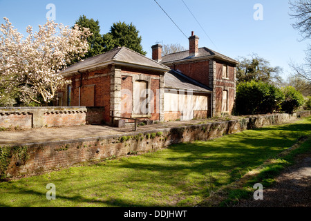 Disused railway station, Clare Country Park, Clare Suffolk UK - Stock Photo