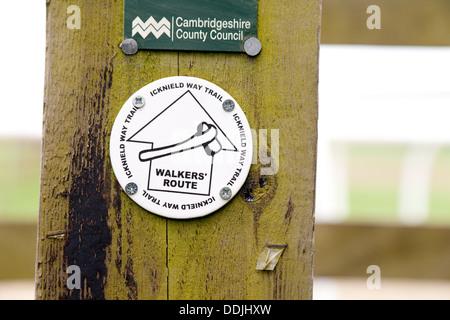 Icknield Way Trail walking path sign on a post, Dullingham, Cambridgeshire UK - Stock Photo