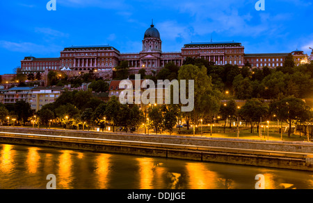 Buda Castle,Budapest, at dawn, seen from the other side of the Danube river - Stock Photo