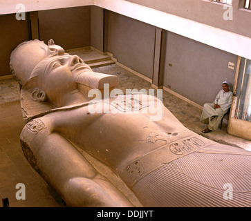 Colossal statue of Ramesses II - 13th century BC, Ruins of Memphis, Egypt, Africa - Stock Photo
