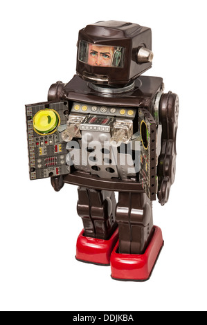 Toy Robot with machine gun compartment open ready for a fight - Stock Photo