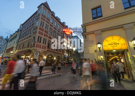 Hard Rock Cafe, Augustiner near Hofbraeuhaus in Munich, Germany - Stock Photo