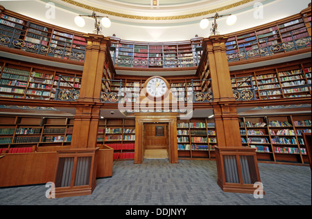 Clock over door to Honby library, Liverpool central library Picton reading rooms - Stock Photo