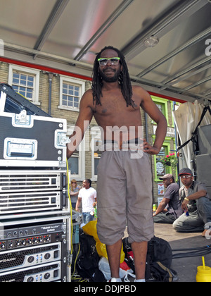 Sound Guy from Huddersfield Carnival 2013 African Caribbean parade street party - Stock Photo