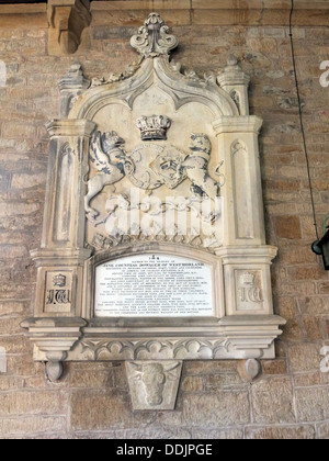 Memorial to Jane, Countess Dowager of Westmorland ( 1857). Buried at Aperthorpe, Brympton d'Evercy,  St Andrew ,nave, - Stock Photo