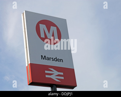 Marsden railway station sign on the Northern train line from Stalybridge to Huddersfield stop for the Riverhead - Stock Photo