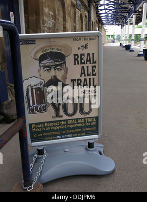 Real Ale Trail sign West Riding refreshment rooms Dewsbury sign, Station,West Yorkshire, England UK - Stock Photo