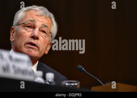 US Secretary Defense Chuck Hagel during a hearing on Syria before the Senate Foreign Relations Committee at the - Stock Photo