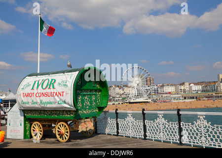 Fortune teller's Gypsy caravan Brighton Pier East Sussex England UK - Stock Photo