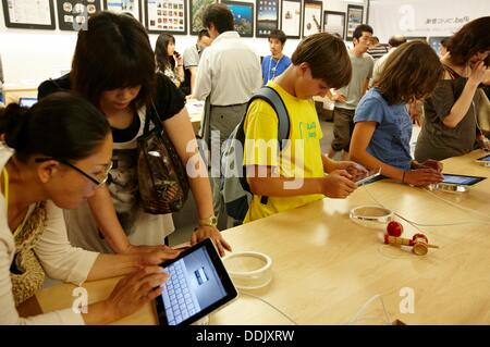 Apple store, Ginza, Shopping area, Tokyo, Japan. - Stock Photo