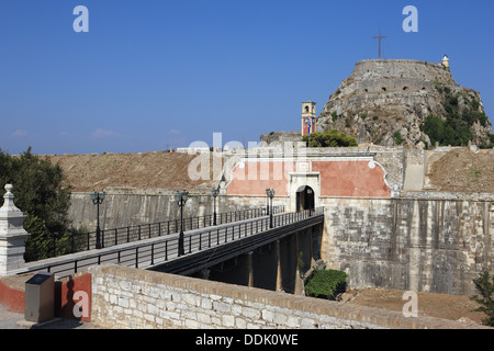 Entrance walkway to the Old Fortress in Corfu Town - Stock Photo