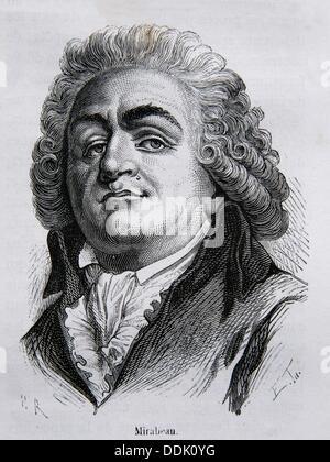 Honoré Gabriel Riqueti, Comte de Mirabeau March 9, 1749 - 2 April 1791 was a French revolutionary, as well as a - Stock Photo