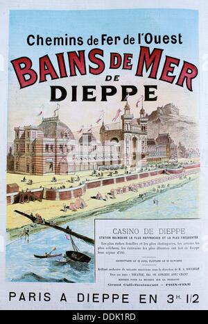 From Paris to Dieppe by train in 3 1/2 hours, 1889, France - Stock Photo