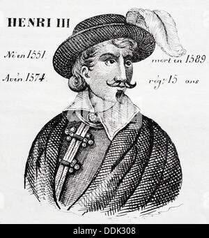 Henri III, king of France from 1574 to 1589. Histoire de France* by J. Henry. Paris, 1842. - Stock Photo