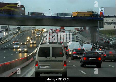 Heavy traffic. A4 highway. Madrid. Spain - Stock Photo