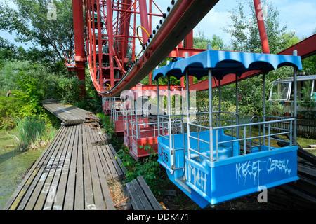 Abandoned former amusement park at Spreepark in Berlin Germany - Stock Photo
