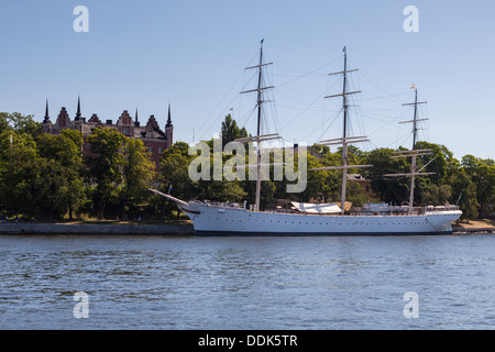 AF Chapman, a square-rigged tall-ship that is moored at Skeppsholmen .Stockholm, Sweden - Stock Photo