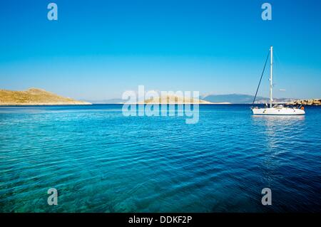 Chalki town, Halki, Dodecanese, Greek Islands, Greece, Europe - Stock Photo