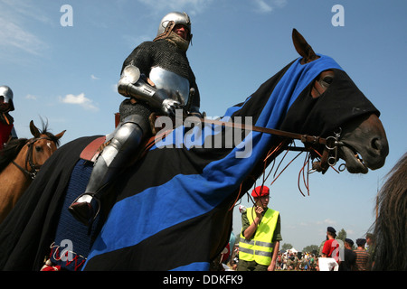 Re-enactment of the 1410 Battle of Grunwald in Northern Poland. - Stock Photo