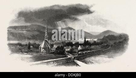 FRENCH CANADIAN LIFE, CAPE DIAMOND, FROM ST. ROMUALD, CANADA, NINETEENTH CENTURY ENGRAVING - Stock Photo