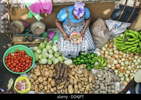 Market. Assomada village. São Tiago island. Cape Verde. - Stock Photo