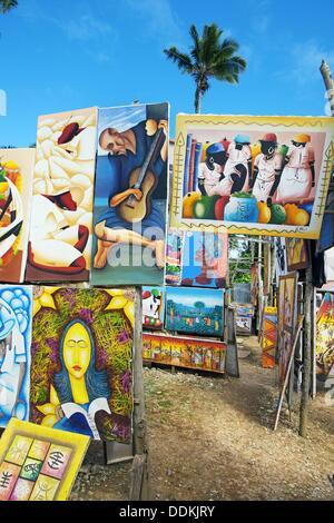 Naive paintings. Las Terrenas. Samana Peninsula. Dominican Republic. West Indies. Caribbean. - Stock Photo