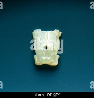 Jade taotie mask applique, Western Zhou dynasty, China, c1100-771 BC. Artist: Unknown - Stock Photo