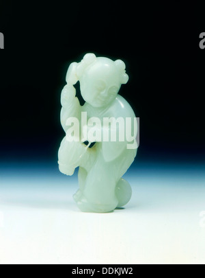 Boy with rattle on a hobby horse in jade, Qing dynasty, China, 2nd half of 18th century. Artist: Unknown - Stock Photo