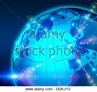Blue globe with bright lights focused on United Kingdom and Europe - Stock Photo