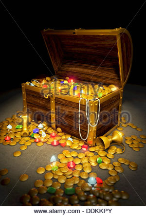 Treasure Chest Gems And Gold Coins 3d Vector Icon Stock