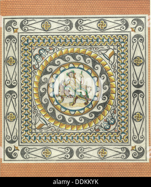 Mosaic floor with Bacchus on a tiger, Roman, from London, (1st century?). Artist: Unknown - Stock Photo
