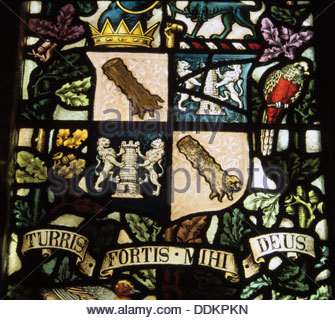 'Turris Fortis Mihi Deus', St Andrew's Church, Aldborough, North Yorkshire. Artist: Dorothy Burrows - Stock Photo