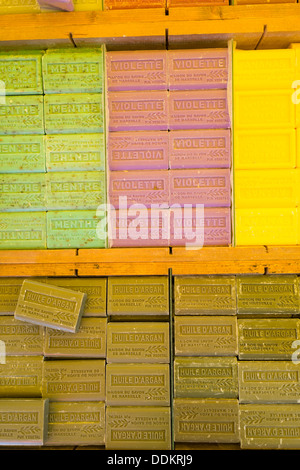 Marseille pure vegetable soap on sale in the Wednesday market in Saint Rémy de Provence, France - Stock Photo
