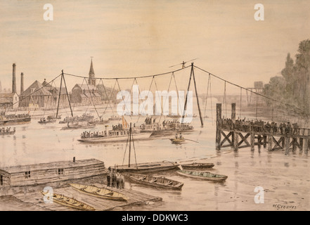 Charles Blondin crossing the Thames on a tightrope, London, before 1897.  Artist: Walter Greaves - Stock Photo