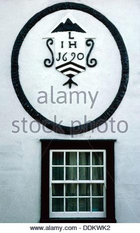Date plaque, Lavenham, Suffolk, 1690.  Artist: Dorothy Burrows - Stock Photo