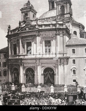 San Francisco el Grande Basilica, Madrid, Spain. Engraving, 1885 - Stock Photo