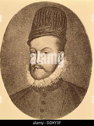 Philip II (1527 - 1598). King of Spain (1556-1598). - Stock Photo