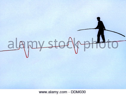 Man with pole balancing on pulse trace tightrope - Stock Photo